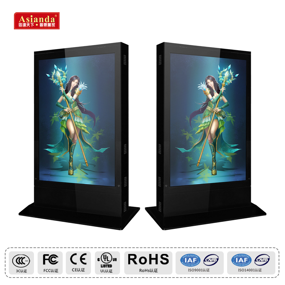 Asianda Free Standing LCD Display 43/ 49/ 55/ 65 Inch Outdoor Advertising Equipment