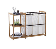 3-Bag Bamboo hot sale laundry cart laundry hamper with bathroom shelf bathroom storage rack
