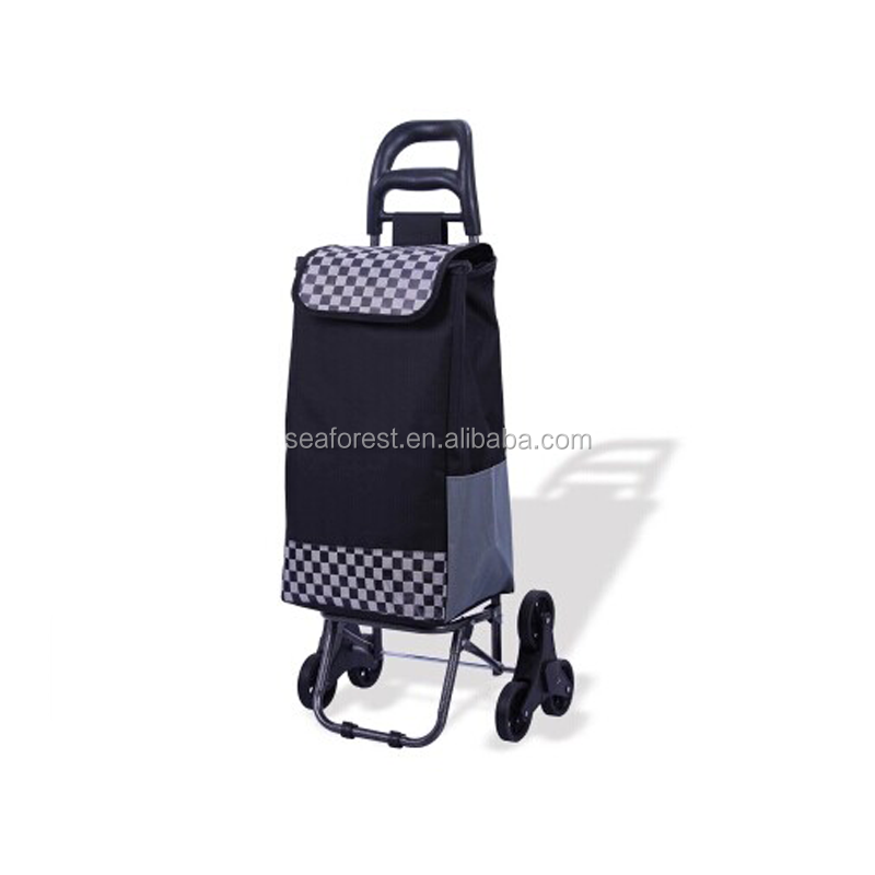 hotsale reusable supermarket folding wheeled rolling shopping trolley cart bag