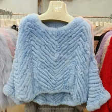 wholesale winter fashion knitted rex rabbit fur shawl women