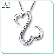 Newest 925 sterling silver open double heart pendant necklace