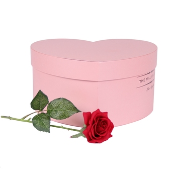 Custom logo printed luxury heart shape packaging flower box with lid