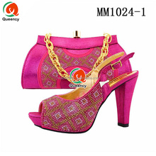 MM1024 Queency Fashion Design Wholesale Italian Women Slingback Shoes with Matching Bags for Nigeria Party