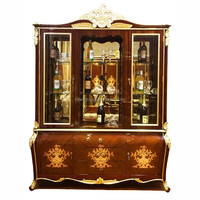 Luxury European Floral Marquetry Inlay Cellarette with Glass Doors, Antique Golden Wine Cabinet BF11-06253f
