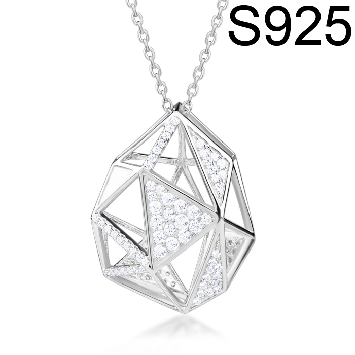 Latest Unregular Pendant Design, 925 Sterling Silver Necklace Rhodium/Rose Gold Plated