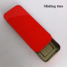 small tin box with sliding lid/rectangular sliding tin packaging/mints metal tin box