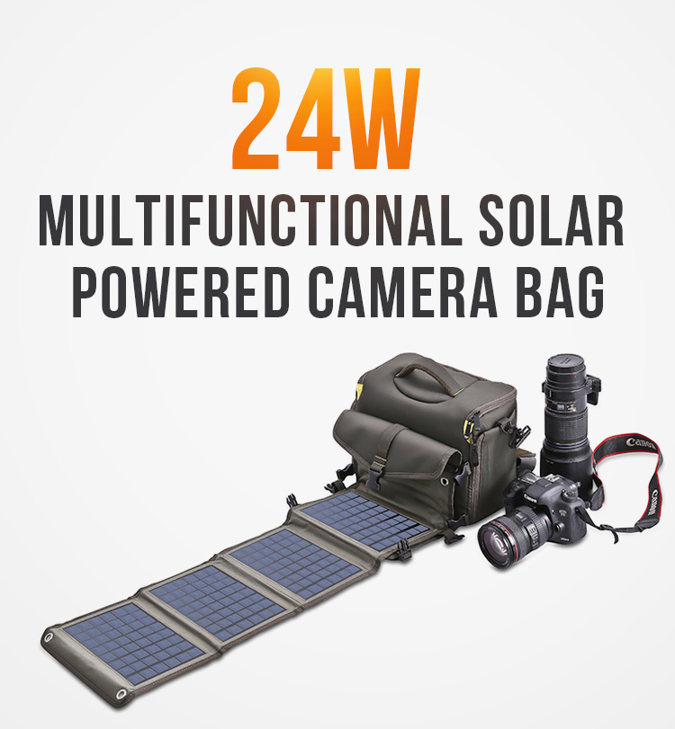 24W  solar panel bag  camera solar pack solar charger backpack