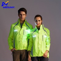 LED flashing 100% polyester lightweight unisex waterproof outdoor jacket