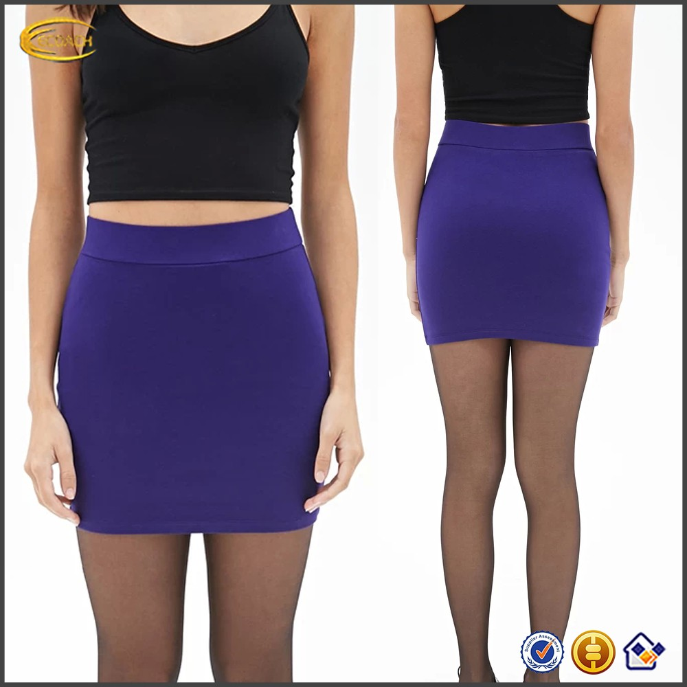 Ecoach Wholesale OEM Hot Girl Sexy Basic Short Skirts Banded waist Stretch knit Lightweight Solid Color Hip Package Mini Skirt