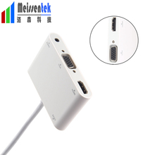 2 in 1 Thunderbolt Mini Displayport DP to HDMI VGA 3.5 Aux Adapter Cable 4K 1080P Mini DP Converter for Macbook Air Microsurface