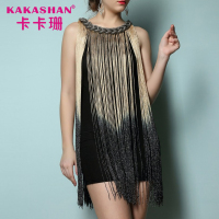 Fringe Women Clothes Party Wear Halter Dress Short Evening Dress Formal