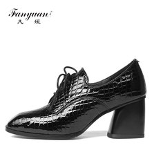 Women's High Heel Platform Pumps Formal Genuine Leather Women Shoes Size 33-43 Wholesale Lady Thick Heel lace up Shoes