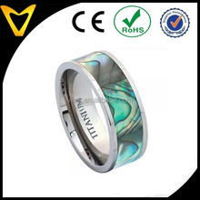 Professional Titanium Wedding Jewelry Ring Supplier, Titanium Wedding Band Ring Pipe Cut with Rainbow Rippled Abalone Inlay 8MM