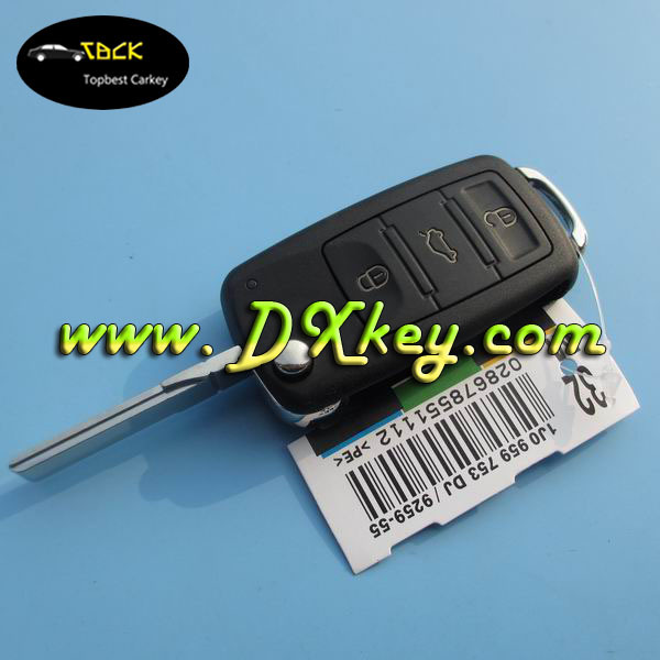 Topbest car plastic key covers with 3+panic button vw key shell with HU 66 blade key cover vw