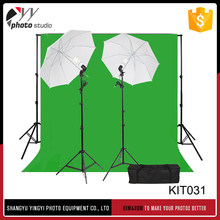 Photography Kit Photo Studio Light green screen Muslin Backdrop Background with Two umbrella Light Bulbs Stand Set