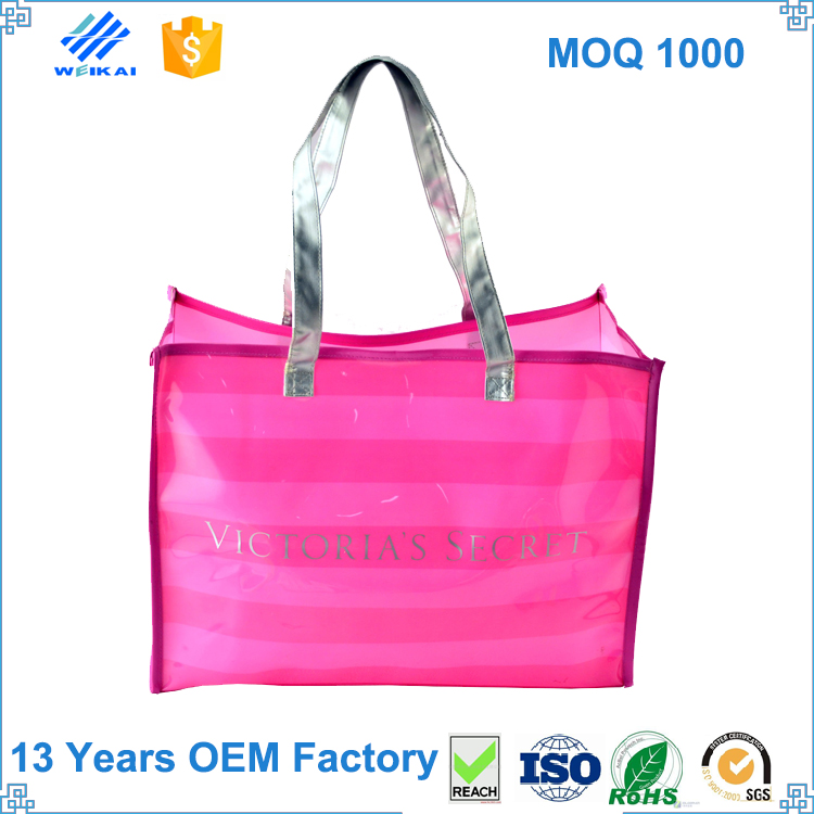 new product fashion PVC tote shopping bag, customized design logo printing shopping bags