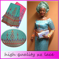 XZ014Z-7 2015 Hottest New Arrival High quality 100% Cotton african lace fabrics 5yards one piece Africa Traditional guipure