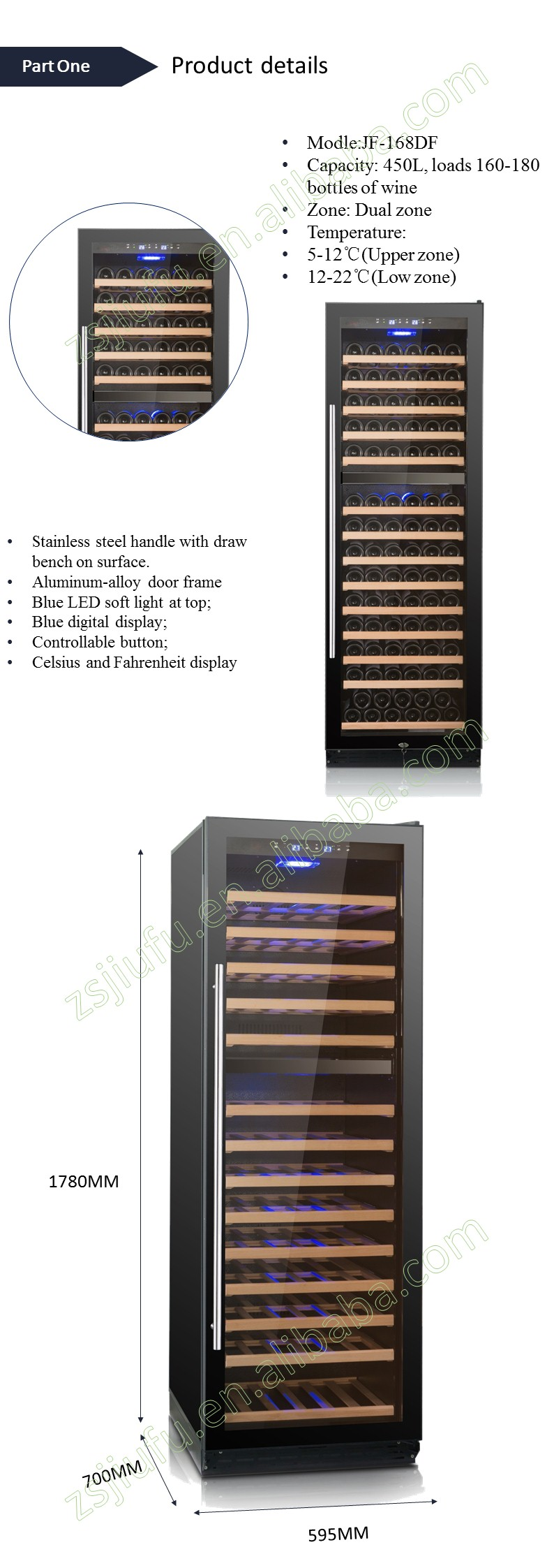 450L beech shelf Freestanding compressor best red wine cooler from China