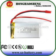 Small high rate 903462 li-ion battery 25C rechargeable lipo battery 3.7v 1500mah with RC helicopter