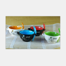 cheap ceramic soup bowl / soup bowl with spoon & plate / fine porcelain blue bowl set