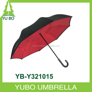 promotional beautiful upside down reverse umbrella with J shape handle free your hands