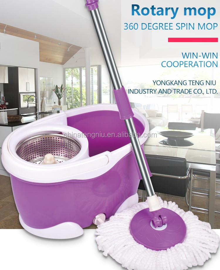 360 Hand Power Mini Spin Go Magic Cotton Mop with 2 Mophead