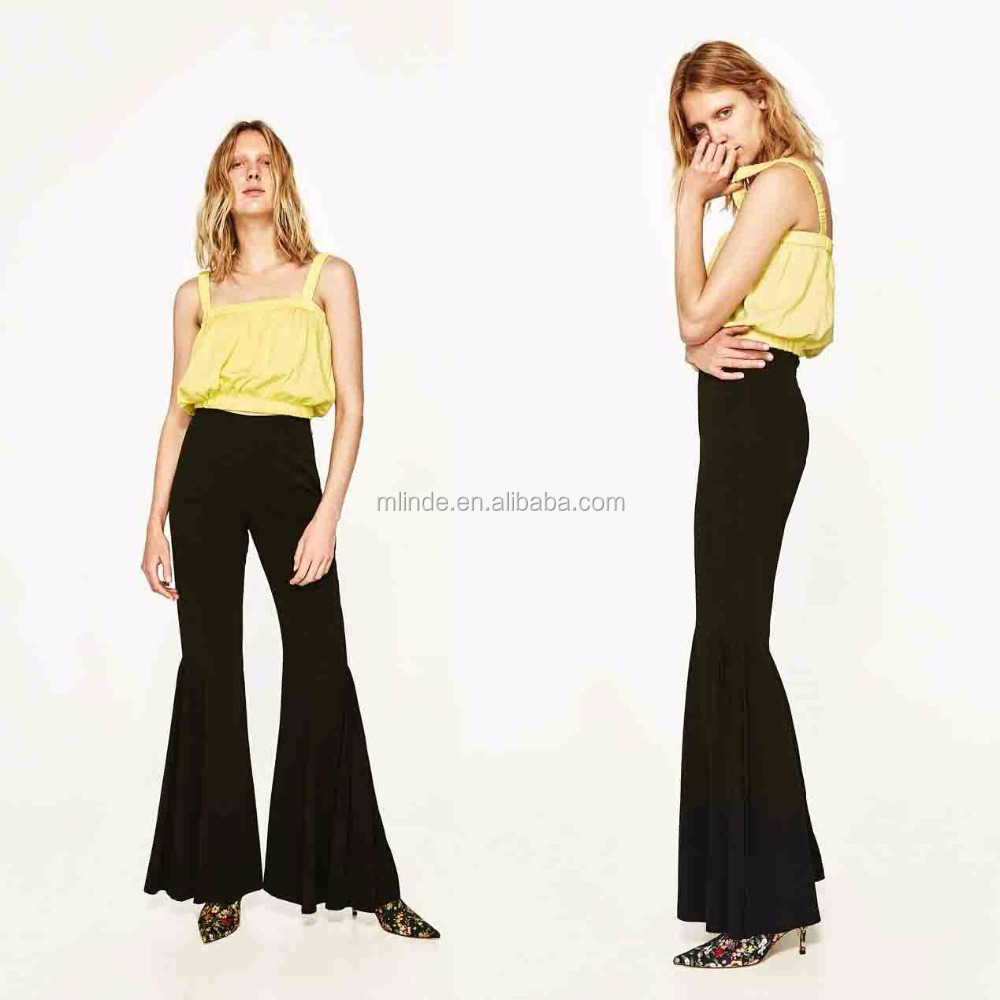 Trousers for Women Fashion Plain Dyed Cheap Wholesale Custom Women Pants and Trousers Bell Bottom Trousers Cutting