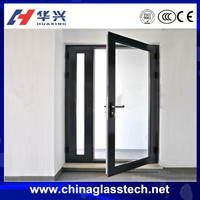 Sound and Heat insulation tempered glass commercial no deformation aluminum alloy frame vented exterior door
