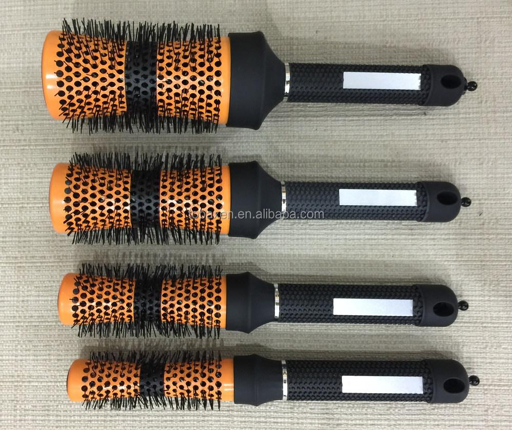 Ceramic Iron Round Wooden Curl Brush Hair Dressing Salon
