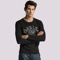 Black Color Men Long Sleeve Printed T-shirts