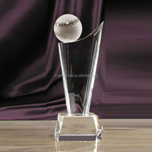 Wholesale custom crystal glass baseball sports trophy for competition souvenir