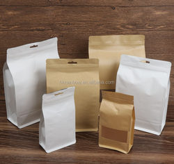 Hot Sale Customized Logo Printed Flat Bottom Kraft Paper Bag with Zip Lock for Food Packaging