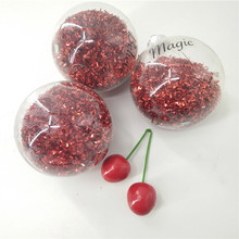 Wholesale Transparent red plastic christmas ball ornaments christmas flat ornaments