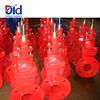 Cast Iron Firefighting Equipment Soft Seal Non Rising Stem Red Handle Manual Double Flanged Gate Valve