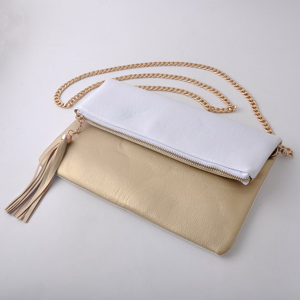 Monogrammed Fold Over Tassels Clutch Bag Cross Fold Leather Bag Gold Hardware Body Cluth Bag