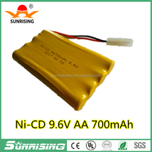 High quality 9.6V 700mAh Ni-CD Battery Rechargeable AA With Connector