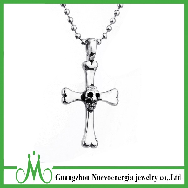 Fashion Stainless Steel Skull Crossbones Charm Pendant Unisex Necklace Jewellery