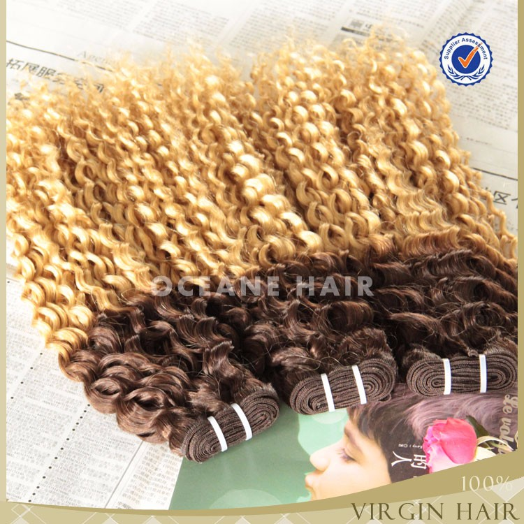 OCEANE HAIR Wholesale top quality 100% sew in brazilian indian human hair weave #4/#27 ombre braiding curly hair weft