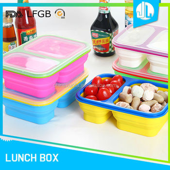 Silicone office portable microwaveable two compartment food containers