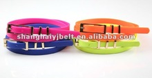 fahsion ladies colorful slim silicone skinny rubber belts YJ10124