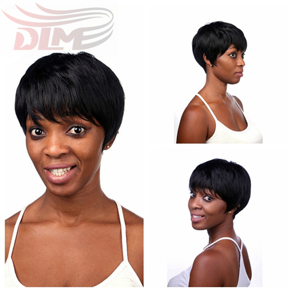Rihanna Hairstyle Sexy Women Short Black Pixie Cut Wigs Human Hair Black Short Bob None Lace Wig Short Straight Wigs For Women