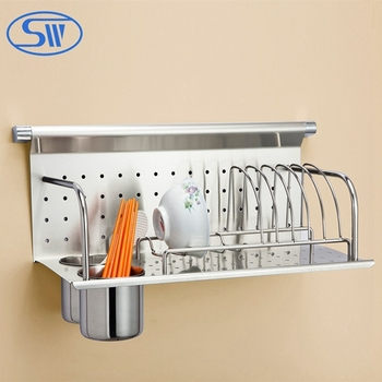 WDJ506 stainless steel kitchen rack wall hanging plate rack & WDJ506 stainless steel kitchen rack wall hanging plate rack View ...