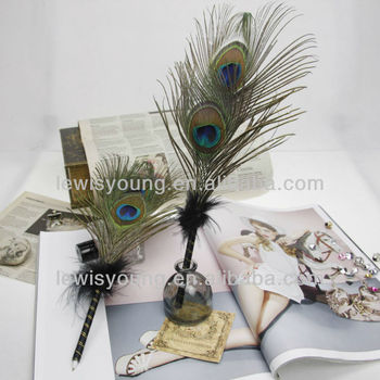 Double Peacock Feather Plume Roller Ball Pen Guest Book Wedding Party