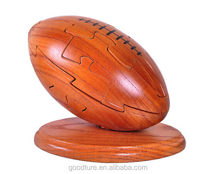 Wholesale Puzzle Rugby American Football Wooden 3D Puzzle Brain Teaser Jigsaw Puzzle <strong>Game</strong>