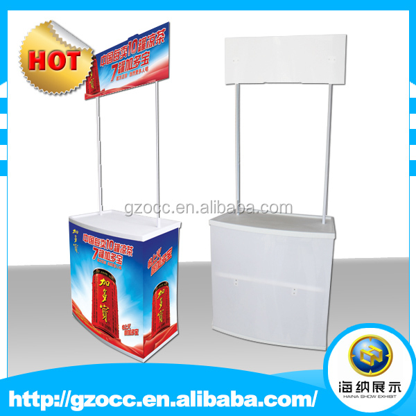 hot sale portable high quality hard pp plastic Supermarket haina durable promotion display table and counter with factory price