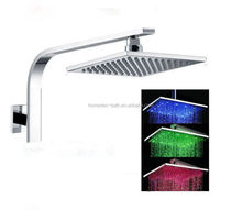 Hot Sale 3 Color Changing Square Brass Led Arm Huge Rain Shower Head