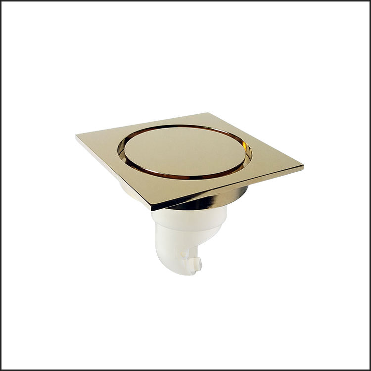 Luxury square design hotel gold plated floor drain with strainer
