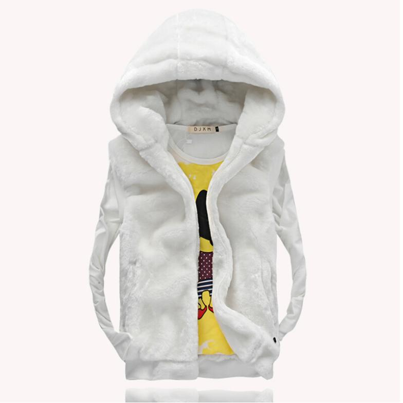Sake!Fashion Faux Fur Men Vest Men's Hooded Slim Fit Casual Outerwear Coat Man Autumn Winter Sport Waistcoat Plus Big Size M-5XL