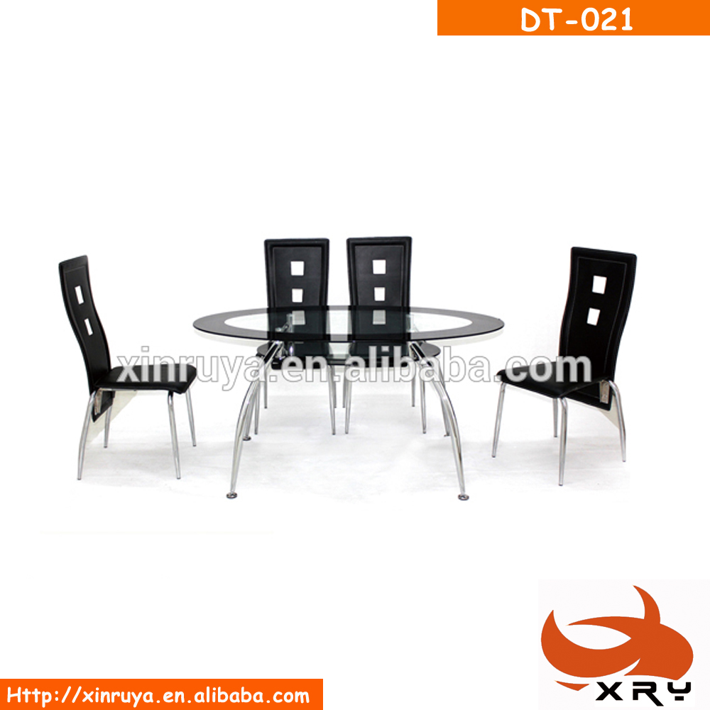 Dining room furniture simple modern oval tempered glass dining sets with chairs