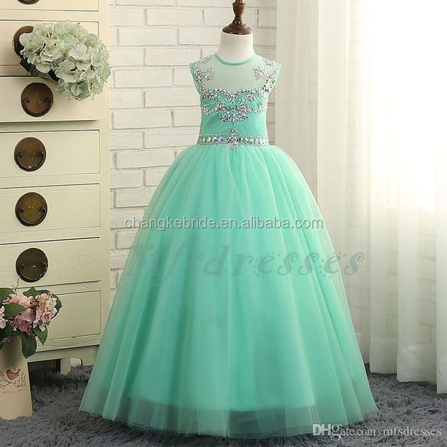 Mint Green Girls Pageant Gowns Floor Length Long Princess Dress Beading Pompon Party Dress For Girls